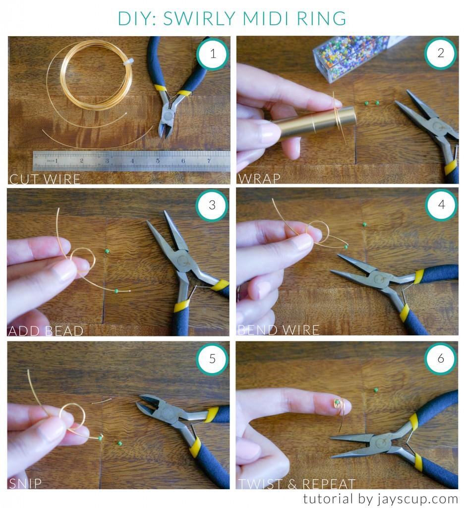 DIY Swirly Midi Ring